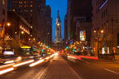 Philadelphia streets by night - Pennsylvania - USA — Stock Photo