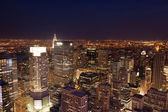 Aerial night view of Manhattan skyline - New York - USA — Stock Photo