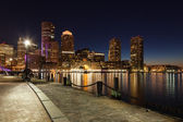 Boston skyline by night - Massachusetts - USA — Stock Photo