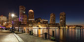 Panoramic view of Boston skyline by night - Massachusetts - USA — Stock Photo