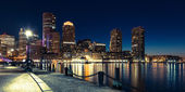 Panoramic view of Boston skyline by night - Massachusetts - USA — Stok fotoğraf