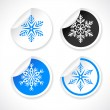 Set of snowflake shapes on stickers — Stock Vector