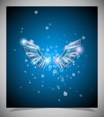 Abstract blue background with glass wings. — Stock Vector