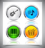 Metal web buttons. Vector eps10. — Stockvektor