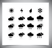 Set of black weather icons. — Stock Vector