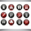 Stock Vector: Set of color new year buttons.