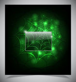 Glowing spider web on a dark background — Stock Vector