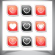 Set of heart buttons — Stock Vector