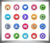 Ensemble de boutons de couleur plat. — Vecteur