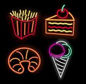 Neon fastfood — Stock Vector