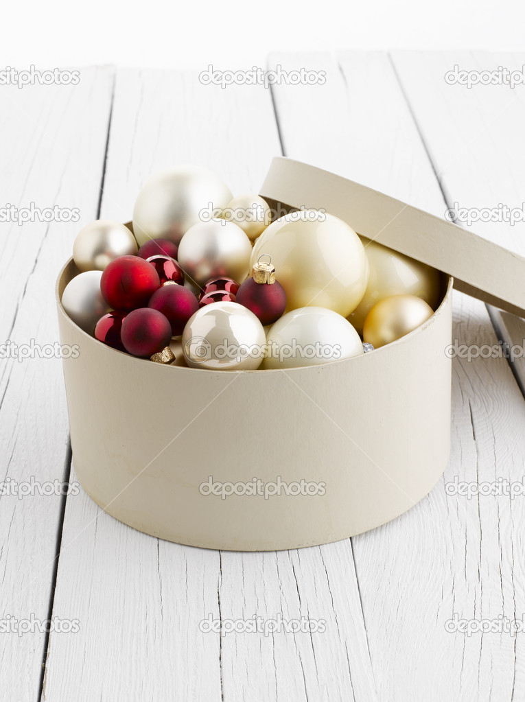 Christmas ornaments on a hat box. Isolated on white. — Stock Photo #14347863