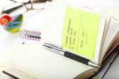 "Open business diary with ""Post It"" notes and pen — Foto Stock"