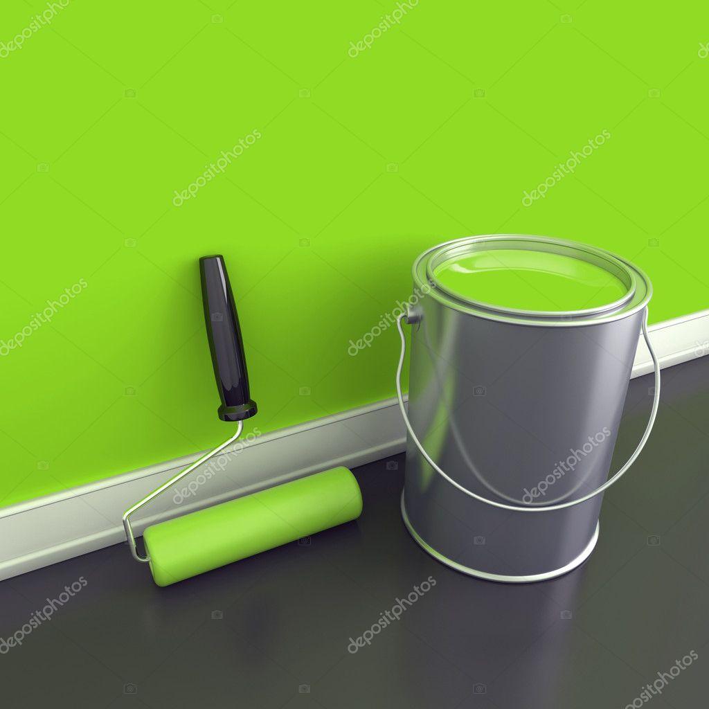 Pintura de paredes em uma tinta verde fotografias de for Pintura pared verde