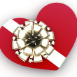 Red heart as gift - Stock Photo