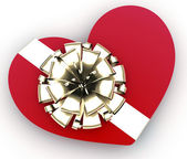 Red heart as gift — Stock Photo
