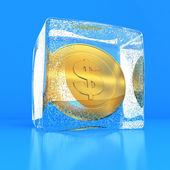 Dollar in the block of ice — Stock Photo