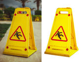 Sign   wet floor — Stock Photo
