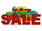 Сумки и ящики с словом продажа — Стоковое фото