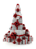 Pile of gifts on a white background — Stock Photo