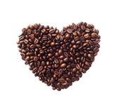 Herzform aus kaffeebohnen hergestellt — Stockfoto
