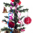 Christmas tree with red toys — Stock Photo