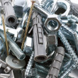 Bolts, nuts, washers, as background — Stock Photo