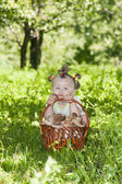 Girl with a basket of mushrooms — Stock Photo