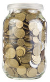 Coins liter jar — Stock Photo
