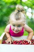 Girl with cherries — Stock Photo