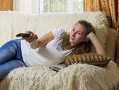 Girl watching TV — Stock Photo