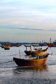 Boats sunset port — Stock Photo