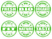 Set of green natural stamps — Stock Vector