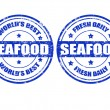 Stock Vector: Seafood stamps