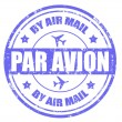 Stock Vector: Par avion-stamp