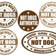 Hot dogs stamps — Stock Vector