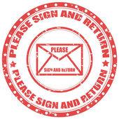 Bitte anmelden und Rückkehr-Stempel — Stockvektor