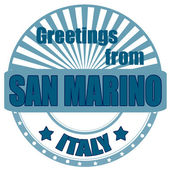 Greetings from San Marino-label — Stock Vector