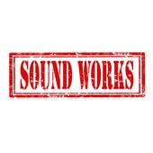 Sello de trabajos sonoros — Vector de stock