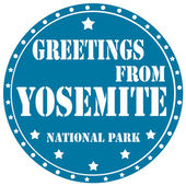 Greetings From Yosemite-label — Stock Vector
