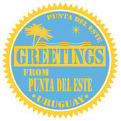 Greetings From Punta Del Este-label — Stock Vector
