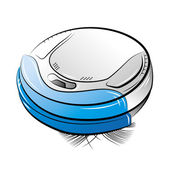 Blue robotic vacuum cleaner — Stock Vector