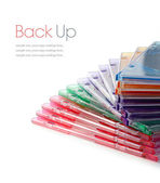 Colourful Stacked DVD Cases — Stock Photo
