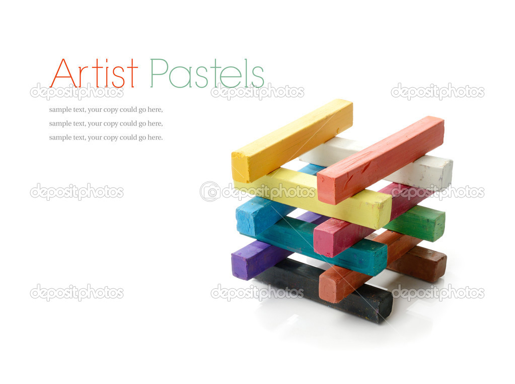Studio macro of a selection of colorful artists pastels on a white background with soft shadows. Copy space. — Stock Photo #20205879