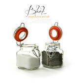 Black Peppercorns and Salt — Stock Photo
