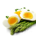 Asparagus and boiled eggs — Stock Photo