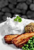 Pork Bellies And Mash — Stock Photo