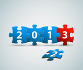 New Year 2013 card made from blue and red puzzle pieces — Stock Vector