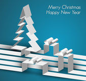 Merry Christmas card made from paper stripes — 图库矢量图片