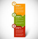 één twee drie - vector papier stappen — Stockvector