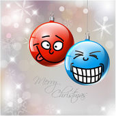 Funny Vector Christmas baubles with faces — Stock Vector